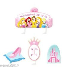 DISNEY PRINCESS 1st BIRTHDAY MINI CANDLE SET (4pc)~ First Party Supplies Cake