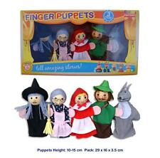 NEW 5 WOODEN HEAD Finger Puppets Puppet RED RIDING HOOD 10cm  Grandma Wolf Witch