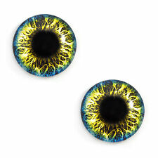 Pair of 25mm Blue and Yellow Fantasy Glass Eyes for Jewelry or Doll Making