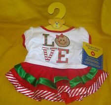 New BUILD-A-BEAR Christmas Red LOVE Gingerbread 2 pc OUTFIT