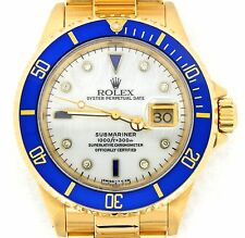 Rolex Submariner SOLID 18K Yellow Gold Watch MOP Diamond Serti Blue Sapphire Sub