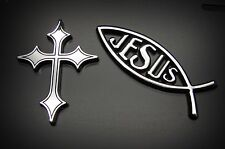 CHRISTIAN JESUS FISH AND CHRISTIAN CROSS 3D EMBLEM,BADGE,STICKER FOR CARS,TRUCKS
