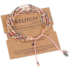 KELITCH Women Girls Bracelet Agate Crystal Seed Beads Wristband Bangle Cuff Pink