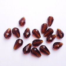 20pcs amber 8x12mm Teardrop Glass Faceted Loose Crystal Spacer Beads