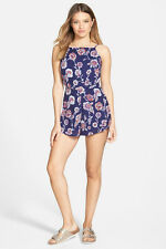 2015 NWT WOMENS BILLABONG SWEPT AWAY ROMPER $55 midnight floral dress zipup back