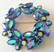 VINTAGE WEISS SIGNED BLUE BOREALIS RHINESTONE BROOCH