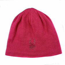 Spyder Women's Shimmer Rhinestone Hat Beanie Hat Cap with Fleece lining New