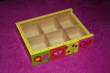 Tiny, very cute, wooden storage box with compartments and perspex lid