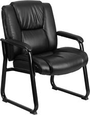 HERCULES 500 lb. Capacity Big & Tall Black Leather Executive Office Side Chair