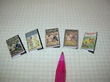 "Miniature Set of 5 ""Bobbsey Twins"" Books w/Dust Covers and Print: DOLLHOUSE 1/12"