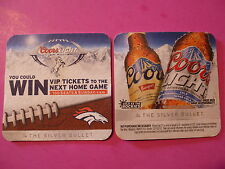 Beer Brewery Coaster: COORS Light ~ VIP tickets to Denver Broncos FOOTBALL 2012