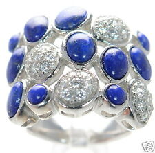 Joseph Esposito Diamonique Solid 925 Sterling Silver Blue Lapis Ring Sz-6 '
