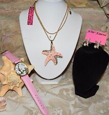 3 PC BETSEY JOHNSON STUNNING SET PINK STARFISH NECKLACE EARRINGS PINK WATCH NEW