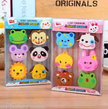 1 Box Kawaii Stationery Match 6 Pcs Set Rubber Zoo Animal Pencil Eraser Erase