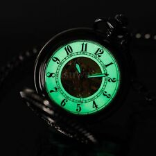 Luminous For Dark Area Skeleton Mens Mechanical Black Steampunk Pocket Watch
