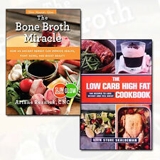 Low Carb High Fat Cookbook Collection Bone Broth Miracle 2 Books Set Pack NEW