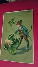 antique TUCK UNDIVIDED ST. PATRICK'S DAY POSTCARD pig leprechaun