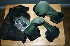 Military Tactical Armor Pro jointed elbow pads  od green in a bag