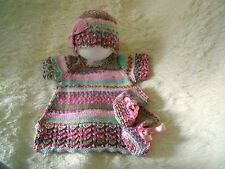 Dk baby knitting pattern not clothes knit girls dress hat booties set size 0-3m