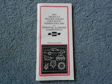 1982 CHEVROLET PRODUCT SPECIFICATIONS CAR VS DOMESTIC IMPORT COMPETITION DEALER
