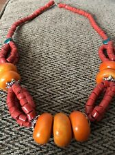 Beautiful Moroccan Berber  Necklace With Amber Resin Beads  NEW