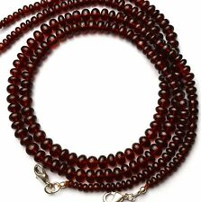 """Natural Gem Hessonite Super Quality 4-6MM Smooth Rondelle Beads Necklace 16.5"""""""