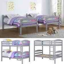 Twin Bunk Beds Kids Bedroom Furniture Wood Grey Ladder Loft Convertible Bunkbed