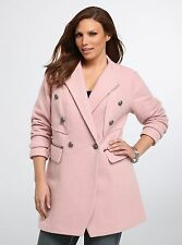 TORRID 3 3X 22 24 PLUS SIZE MILITARY PEACOAT WINTER JACKET TOP SHIRT PINK COAT
