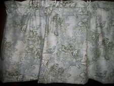 Green Toile Birds Flowers fabric window topper curtain Valance