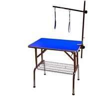 "32"" Emperor Fold Flat Dog Grooming Table + Grooming Arm Blue"