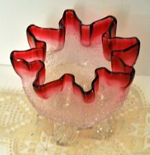 CRANBERRY FLUTED TOP OVERSHOT GLASS FOOTED BOWL Applied feet Rough pontil Fenton
