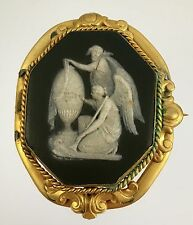 19thc Victorian Mourning Black Wedgewood Cameo Antique Gold Brooch