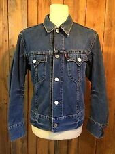 Vtg levis denim rockabilly trucker veste large 40 tour de poitrine languette rouge délavé smart vgc