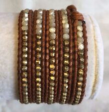 New Auth Chan Luu Mother of Pearl Gold Indian Bead Wrap Bracelet Brown  Leather