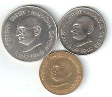 REP. INDIA -1969 'S GANDHI'S 1 RUPEE, 20 PAISE & 50 PAISE COINS ..3 COINS SET
