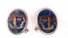 Taxco Mexico Sterling Silver Cuff Links Modernist Aztec Warrior Mixed Metals 11g