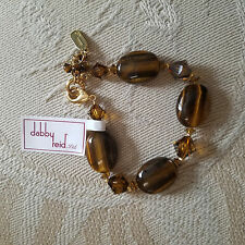 "DABBY REID ""Ronnie Mae"" Swarovski crystal bracelet ~ TIGERS EYE ~ NEW!"