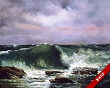 LARGE OCEAN WAVES CRASHING ON BEACH SEA SHORE PAINTING ART REAL CANVAS PRINT
