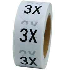 White Round Clothing Size Stickers 3X - Adhesive Labels For Retail Apparel