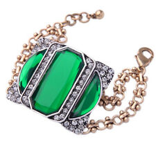 EMERALD GREEN CRYSTAL RHINESTONE GOLD SILVER Designer Chain Statement Bracelet