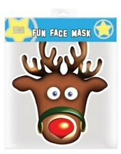 Rudolph the Reindeer Christmas Single 2D Card Face Mask - Great for Xmas Parties