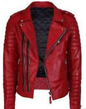 New Stylish Mens Motorcycle Red Lambskin Genuine Leather Biker Diamond Jacket