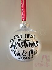 X2 Our First Christmas As Mr & Mrs 2016 Decal Sticker DIY Bauble Decoration