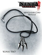 NINJA GAIDEN 2 - Kunai Trio Leather Cord Replica Necklace (NECA) #NEW