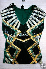 NWT bebe green silver gold stud sequin colorblock stretchy dress top L large 10