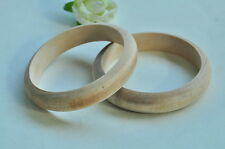 2pcs Wood Bracelet Wooden Bangle Large Unfinished Natural Handemade Craft Punk