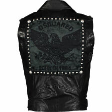 DSQUARED2 Black STUDDED EAGLE PATCH Biker Leather Jacket/Gilet IT48 UK38 RARE
