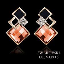 Boucle d'oreilles carrés multiples Swarovski® Element doré /noir /corail