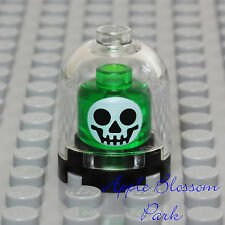 NEW Lego Green SKELETON SKULL - Halloween Science Lab Display Case Minifig Head