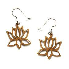 Lotus Flower Laser Cut Cherry Wood Earrings #WC-CE1158